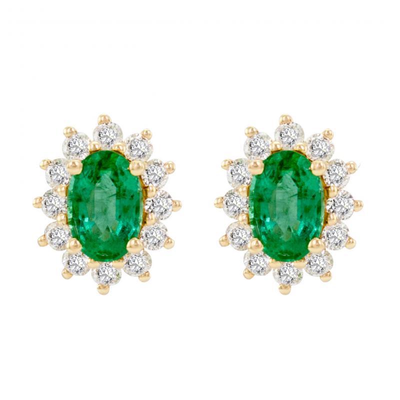 Zlaté smaragdové náušnice s diamanty Mariell ... c5dc3e9af64