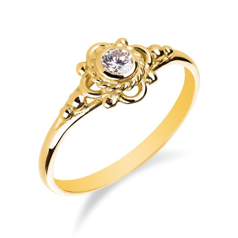 Zlaty Prsten Ve Vintage Stylu S Diamantem Coronah Eppi Cz