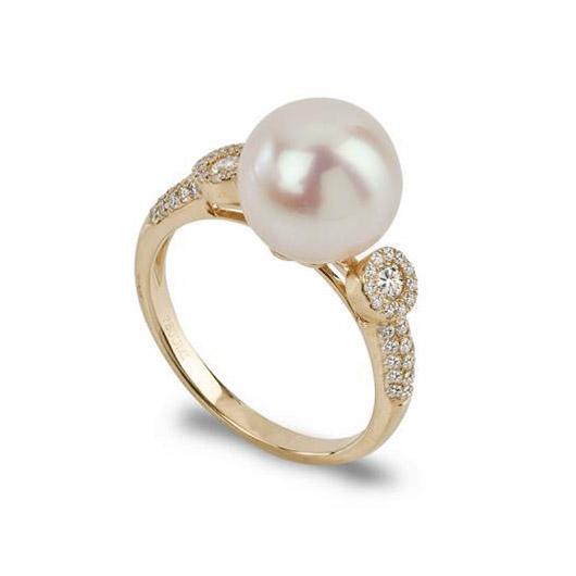 Zlatý prsten s perlou a diamanty Haady  f2ce026e63b