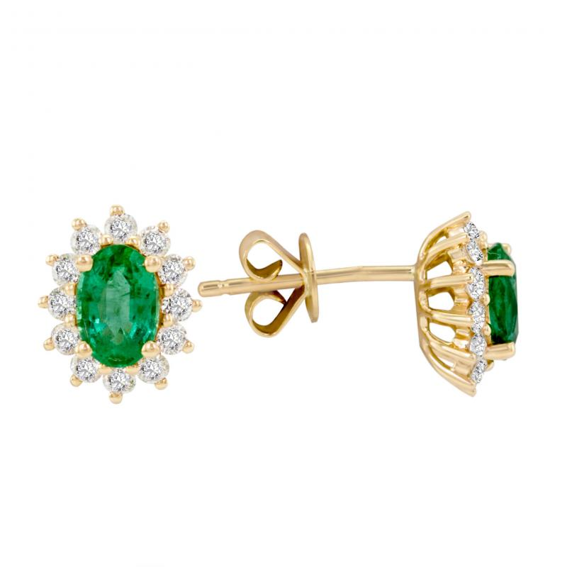 Zlaté smaragdové náušnice s diamanty Mariell Zlaté smaragdové náušnice s  diamanty Mariell ... b78927fe127