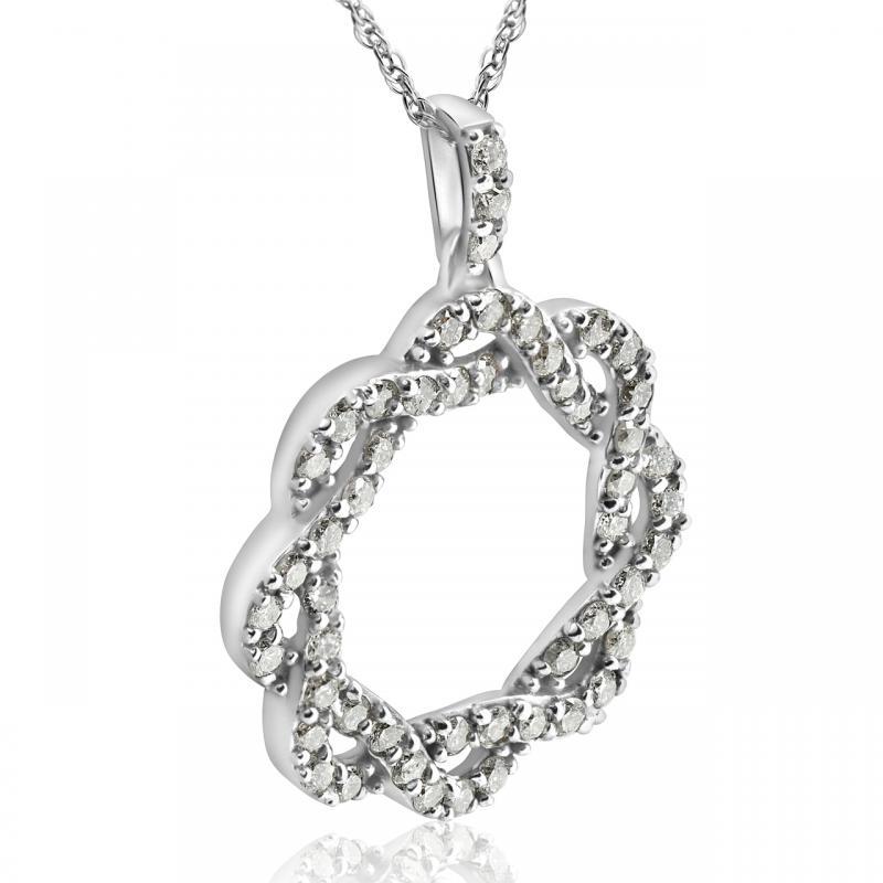 394611613 Zlatý diamantový náhrdelník; Třpytivý diamantový náhrdelník z bílého zlata  Vilina