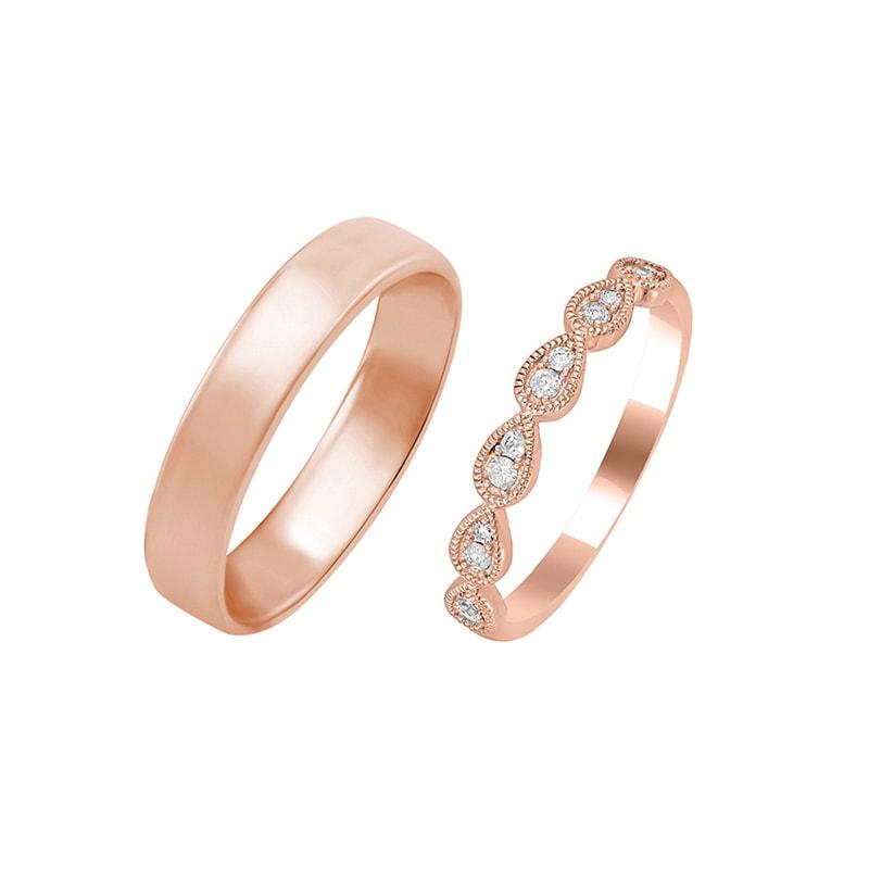 39fcf2bde Dámský vintage snubní prsten a klasický komfortní pánský prsten Zain ...