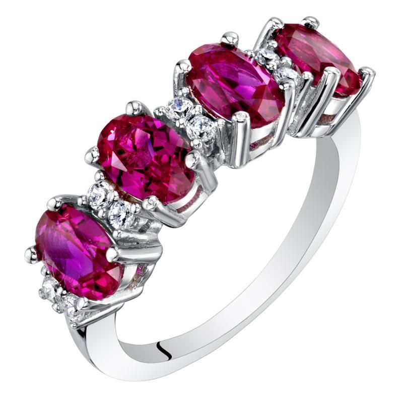 Eppi Stříbrný prsten s oválnými rubíny Route R36432