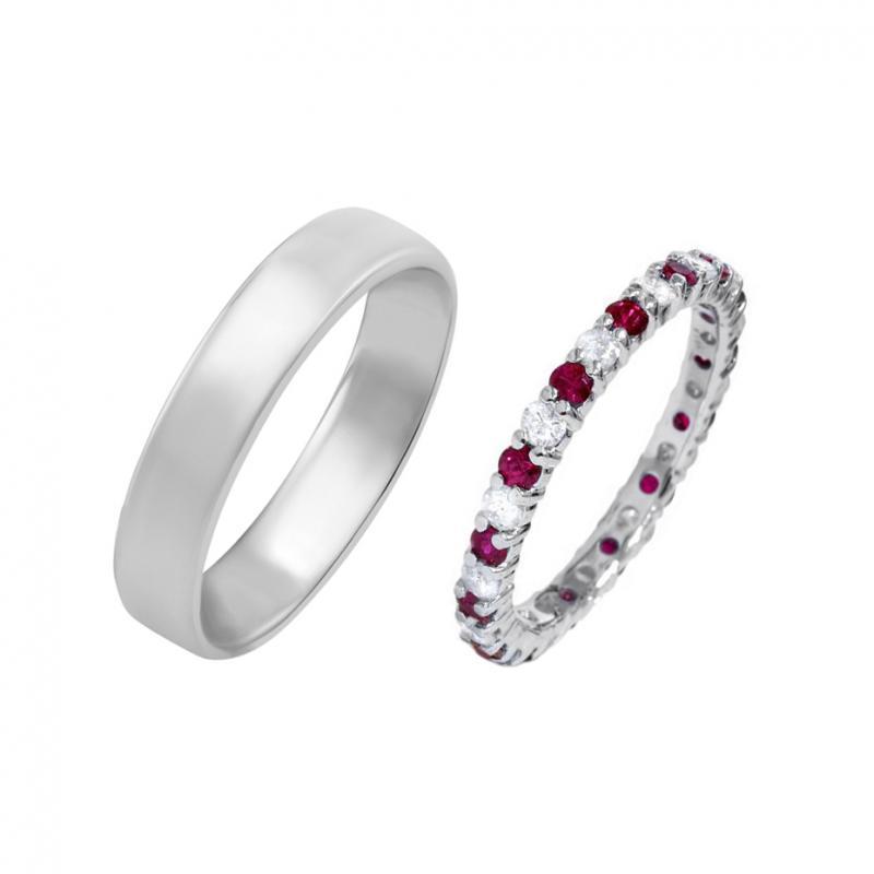 Eppi Zlatý eternity prsten s rubíny a diamanty a pánský komfortní prsten Yacco RW36739