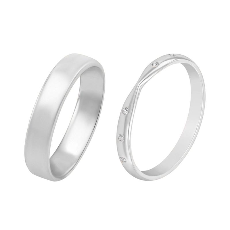 Eppi Snubní zlaté prsteny s eternity dámským a pánským komfortním prstenem Tutie RW37957