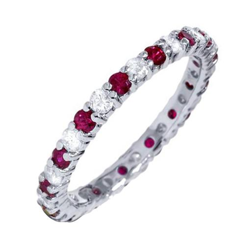 Eppi Zlatý prsten vykládaný rubíny a diamanty Sagar R31226