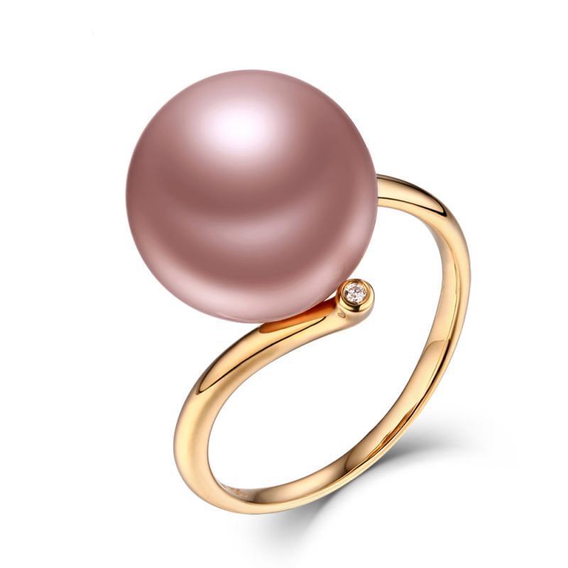 Zlatý prsten s růžovou perlou a diamanty Magnolia  ab9c8d9056d