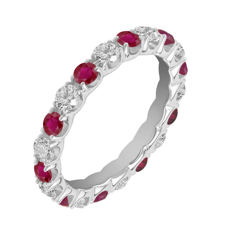 Eppi Platinový eternity prsten s rubíny a diamanty Breeshey R34712