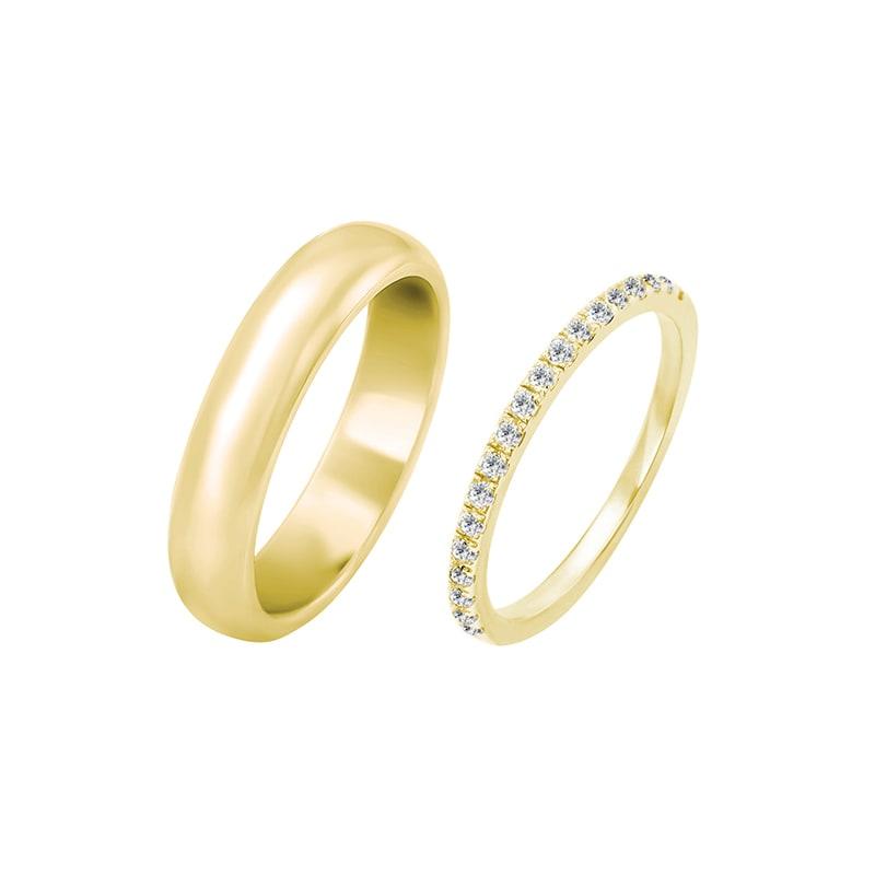 Zlaty Eternity Prsten S Diamanty A Pansky Pulkulaty Snubni Prsten