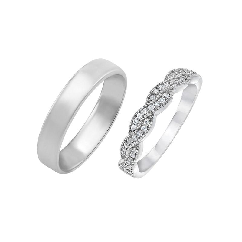 Eppi Snubní zlaté prsteny s eternity dámským a pánským komfortním prstenem Bai RW35727