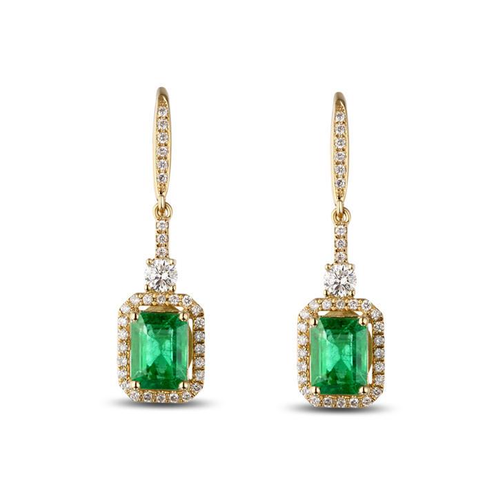 Zlaté náušnice se smaragdy a diamanty Chianna ... 7ccf9f76a53