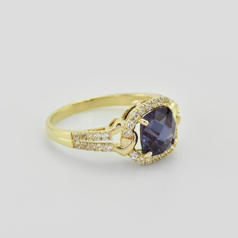 5c1c05c7550 ... Zlatý prsten s tajemným alexandritem a topazy Odran ...