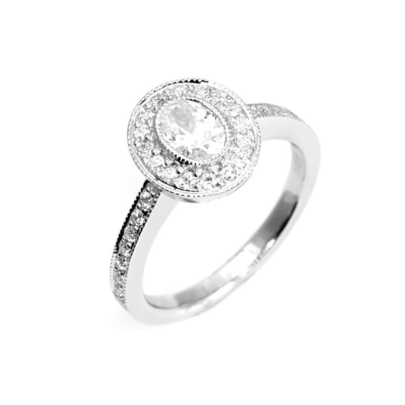a55dc454f Zásnubní prsten ve vintage stylu s oválným diamantem Kaysi Zásnubní prsteny  s diamanty