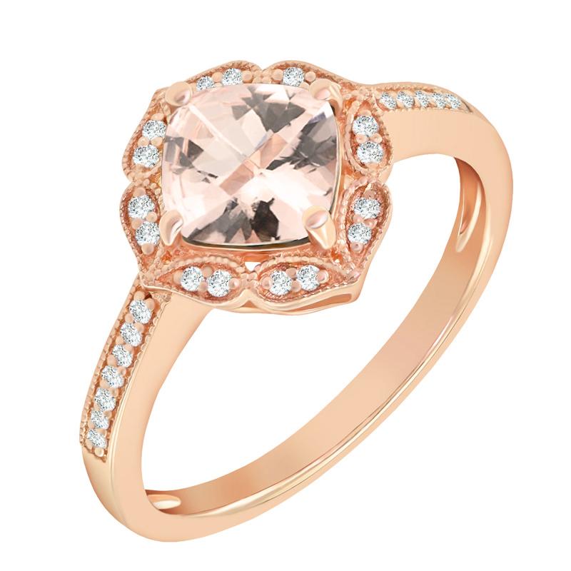 50cb5c5b9 Růžová poezie v zásnubním prstenu s morganitem Yamika Zásnubní prsteny s  drahokamy · Zlaté kruhové náušnice vykládané diamanty Pallav Diamantové  náušnice