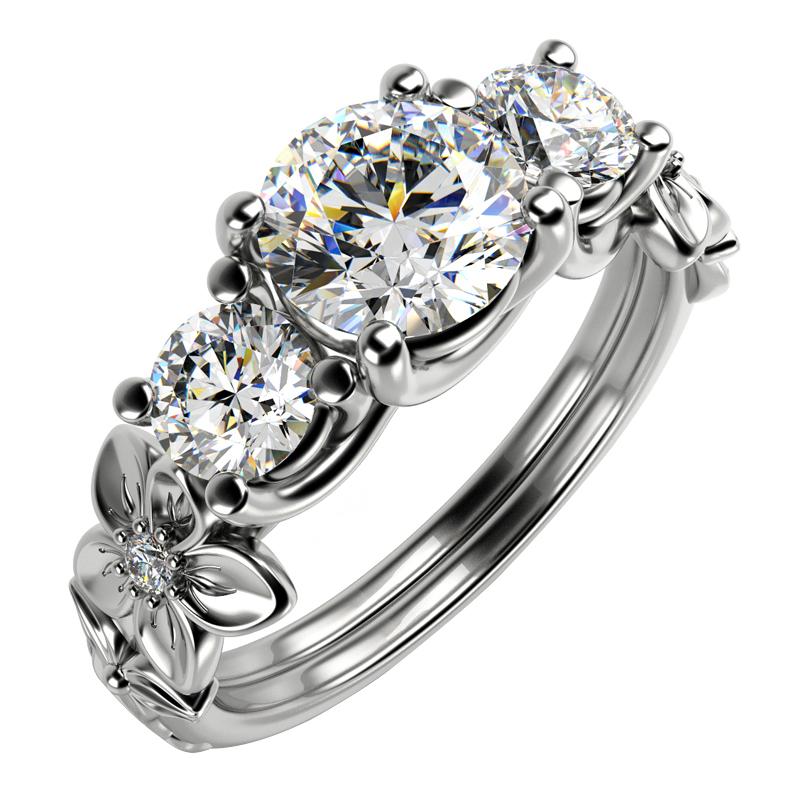 Květinový platinový prsten s diamanty Nensi  9b917830595