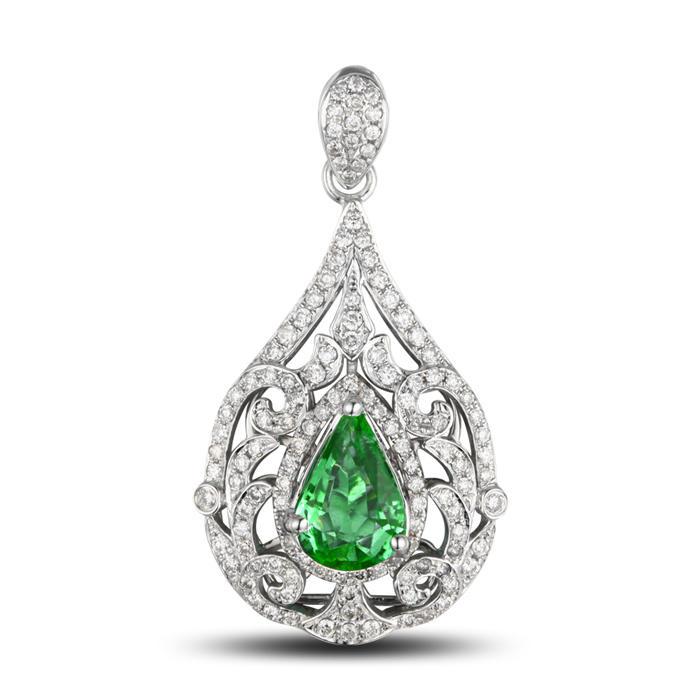 Eppi Smaragdový zlatý přívěsek vykládaný diamanty Alysia P31477