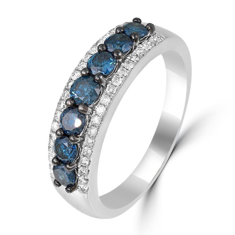 Zlaty Prsten S Modrymi A Bilymi Diamanty Pandora Eppi Cz
