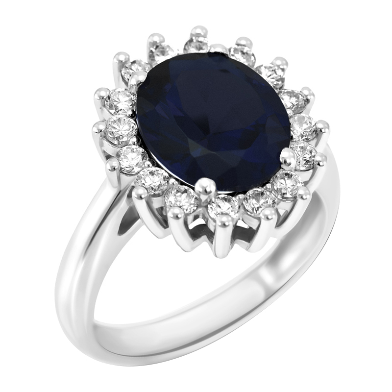14bdaf9bb Zlatý prsten s modrým safírem a diamanty Tubiah | Eppi.cz