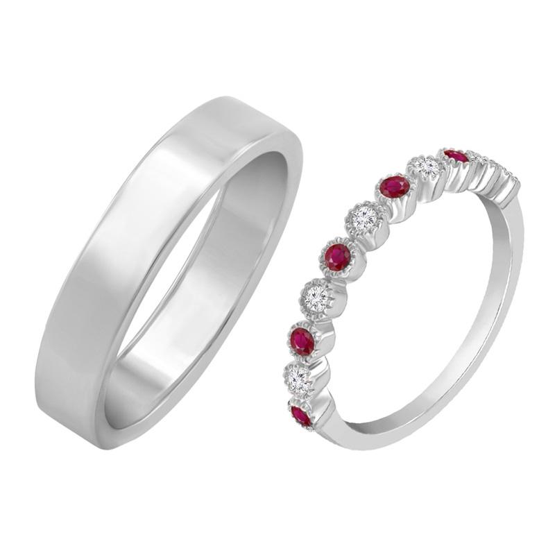 Eppi Dámský eternity prsten s diamanty a rubíny a pánský plochý prsten Nissa RW40187