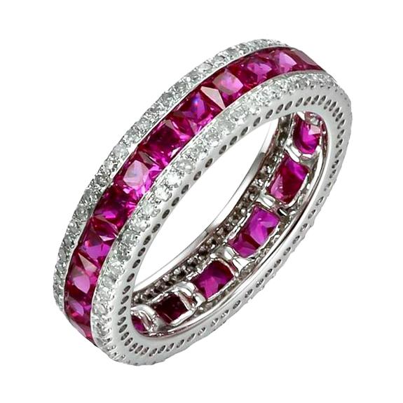 Eppi Eterniny prsten s princess rubíny a diamanty Jesslyn R31808