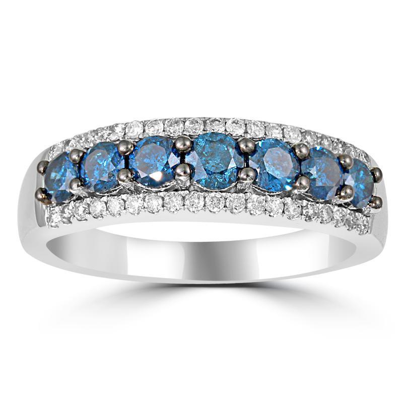 1fe7397ad29 Zlatý prsten s modrými a bílými diamanty Pandora