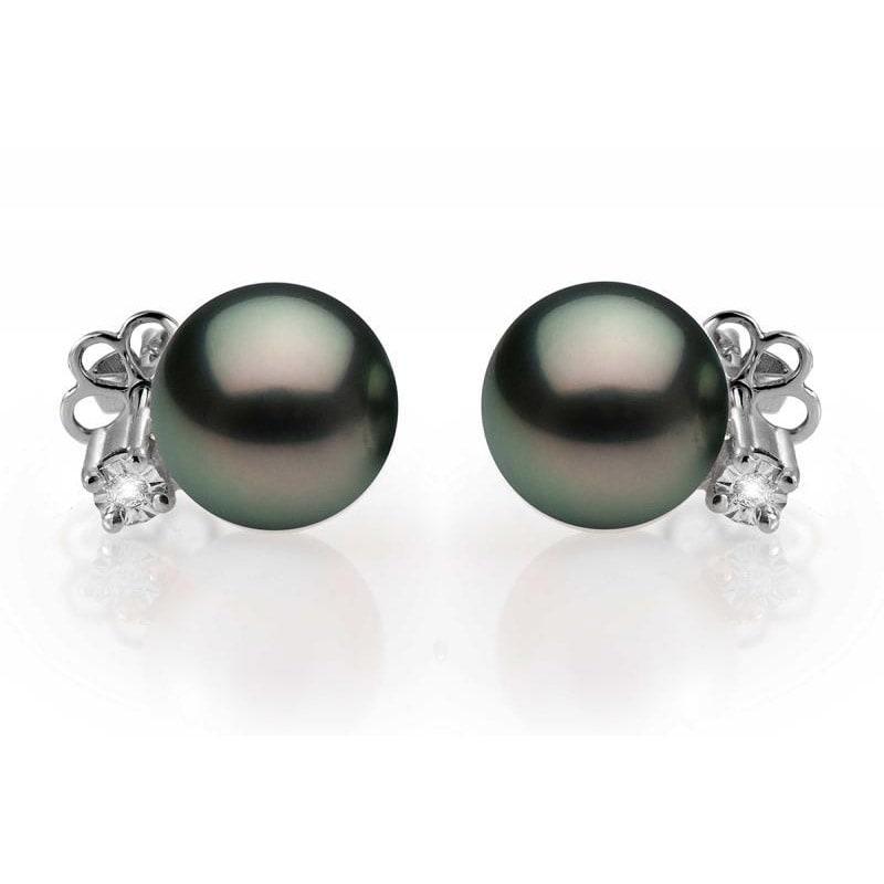 Zlaté náušnice s diamanty a černými perlami Morisah  da0e4552b41