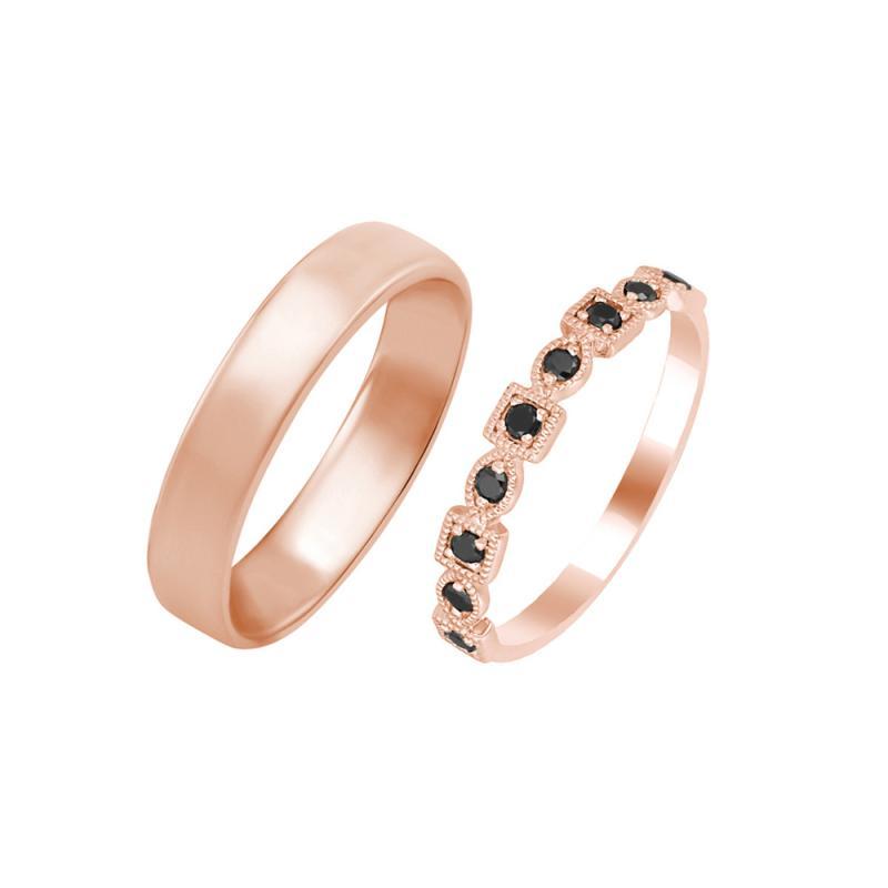 Zlaty Diamantovy Vintage Prsten A Zlaty Komfortni Snubni Prsten