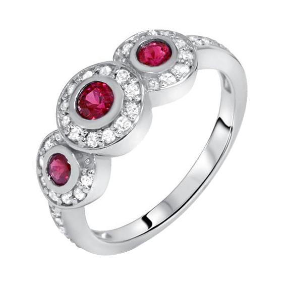 Eppi Zlatý prsten s rubíny a diamanty Beulah R32337