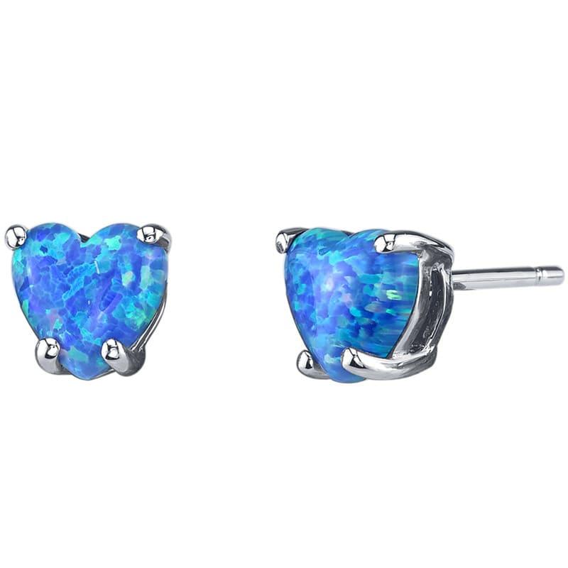 Eppi Modrá opálová srdíčka ve zlatých náušnicích Filib E34861