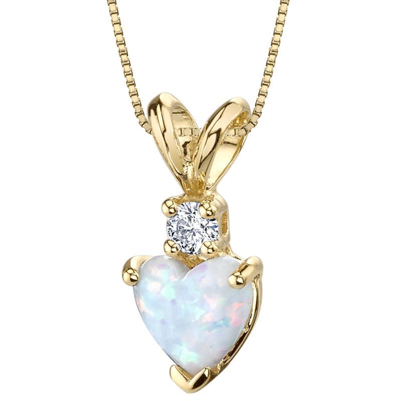 Zlatý přívěsek s bílým opálovým srdcem a diamantem Yuffie Zlaté přívěsky a  náhrdelníky 9cbf3622786