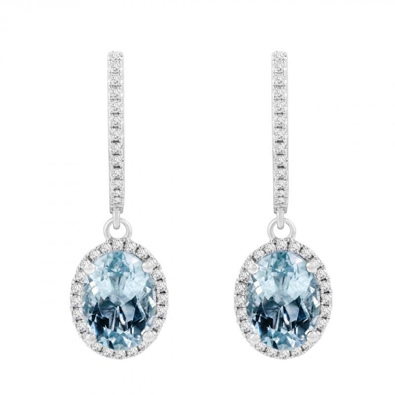 b452ef9ce Zlaté náušnice s akvamaríny a diamanty Azura