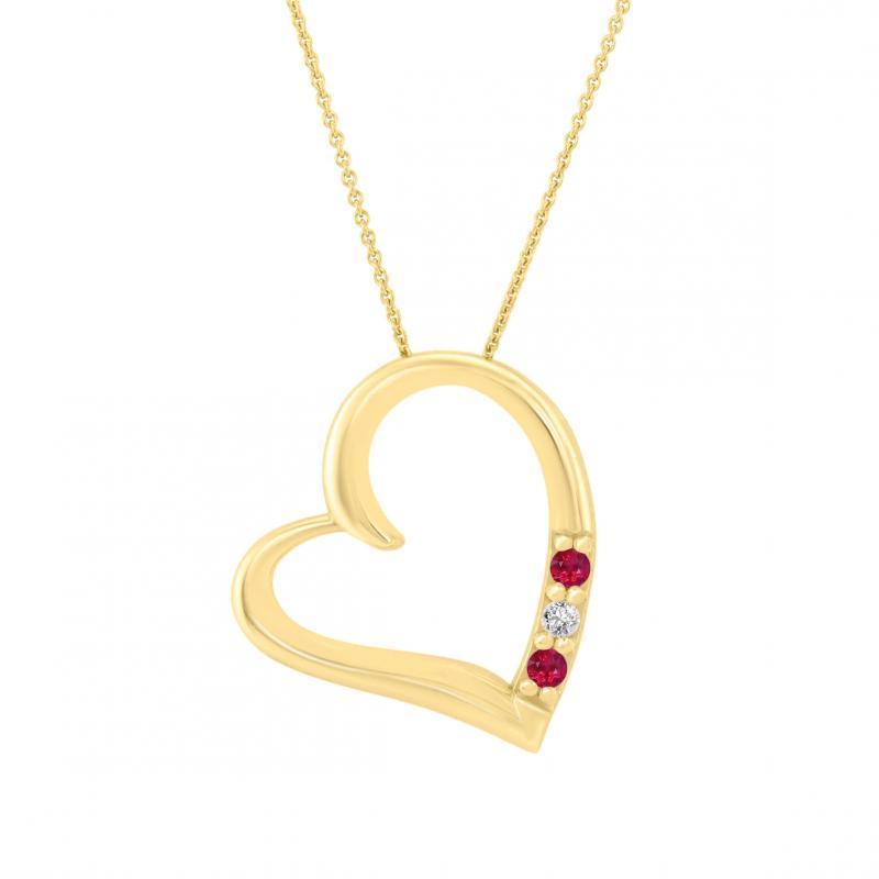 5dfb8618c Zlatý náhrdelník srdce s rubíny a diamantem Mrittika | Eppi.cz