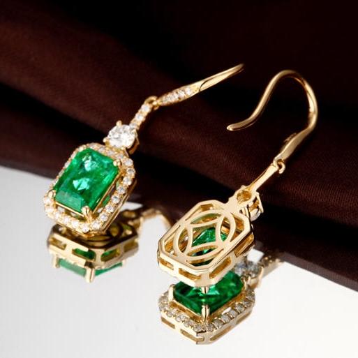 Zlaté náušnice se smaragdy a diamanty Chianna  203ef9b4a24