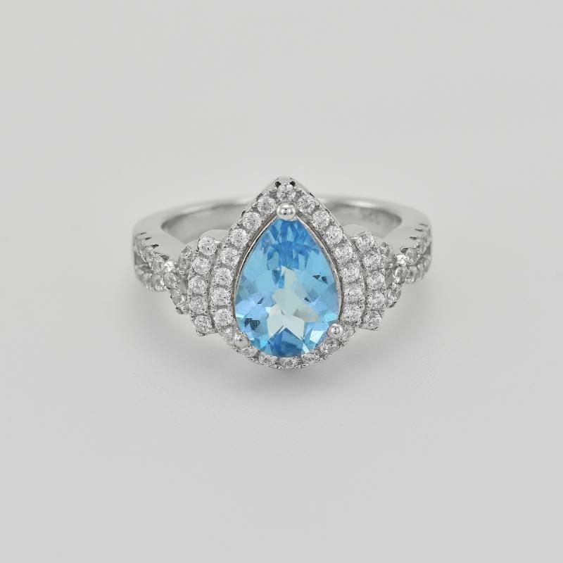 09ee08db3 Stříbrný prsten se švýcarským topazem a zirkony Milades | Eppi.cz