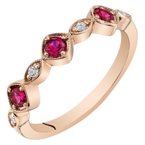 Eppi Stříbrný pozlacený eternity prsten s rubíny a zirkony Anise R37732