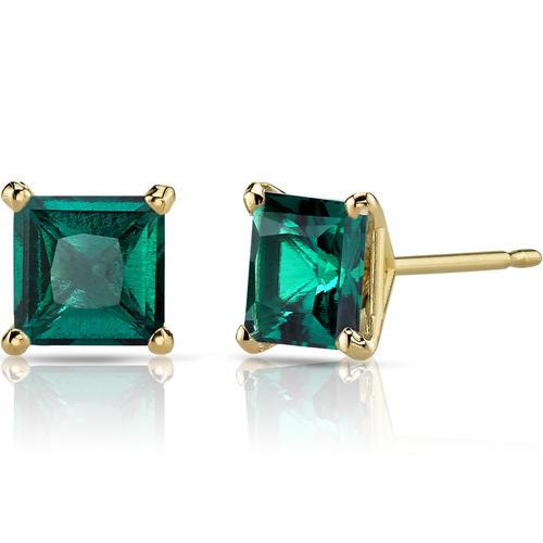 Zlaté náušnice s princess smaragdy Enola ... 937a4444608