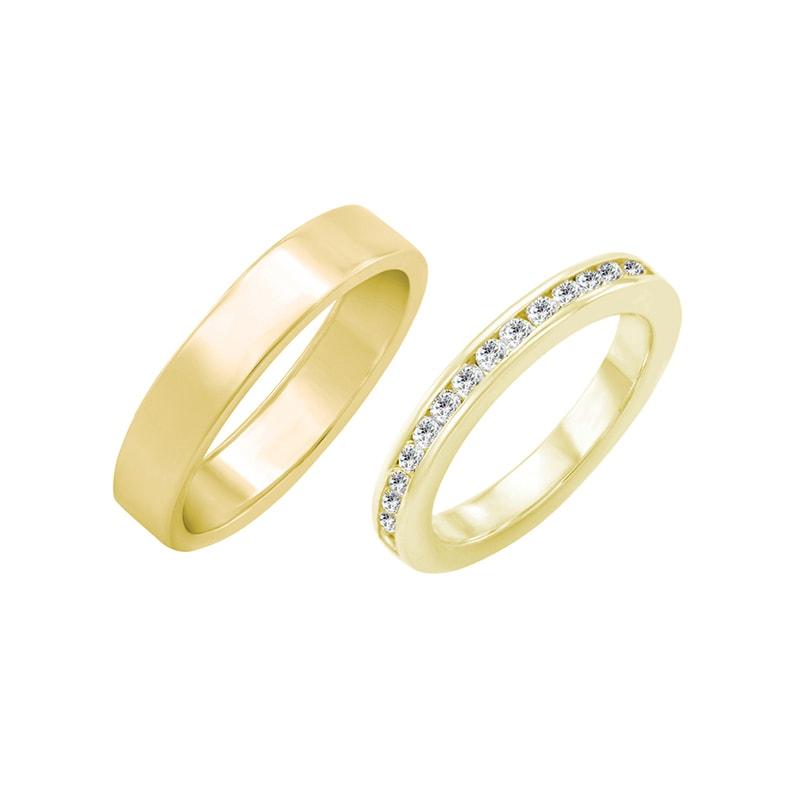 Zlaty Eternity Prsten S Diamanty A Plochy Snubni Prsten Nail Eppi Cz