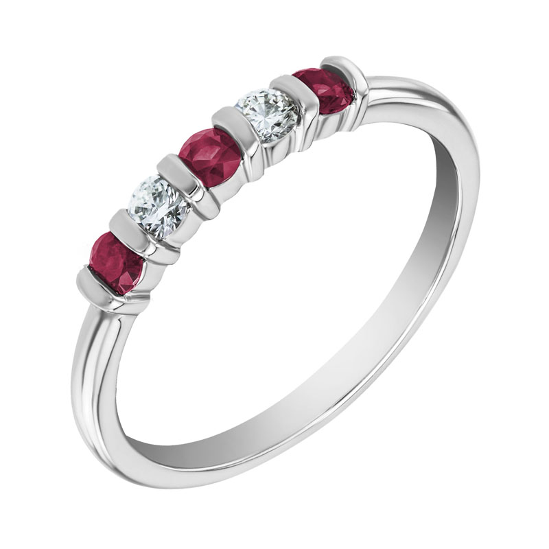 Eppi Platinový eternity prsten s rubíny a diamanty Jonee R34705