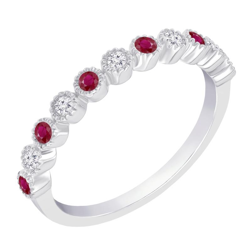 Eppi Zlatý eternity prsten s diamanty a rubíny Diamanta R37285