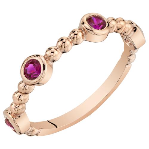 Eppi Stříbrný pozlacený eternity prsten s rubíny Octavia R37722