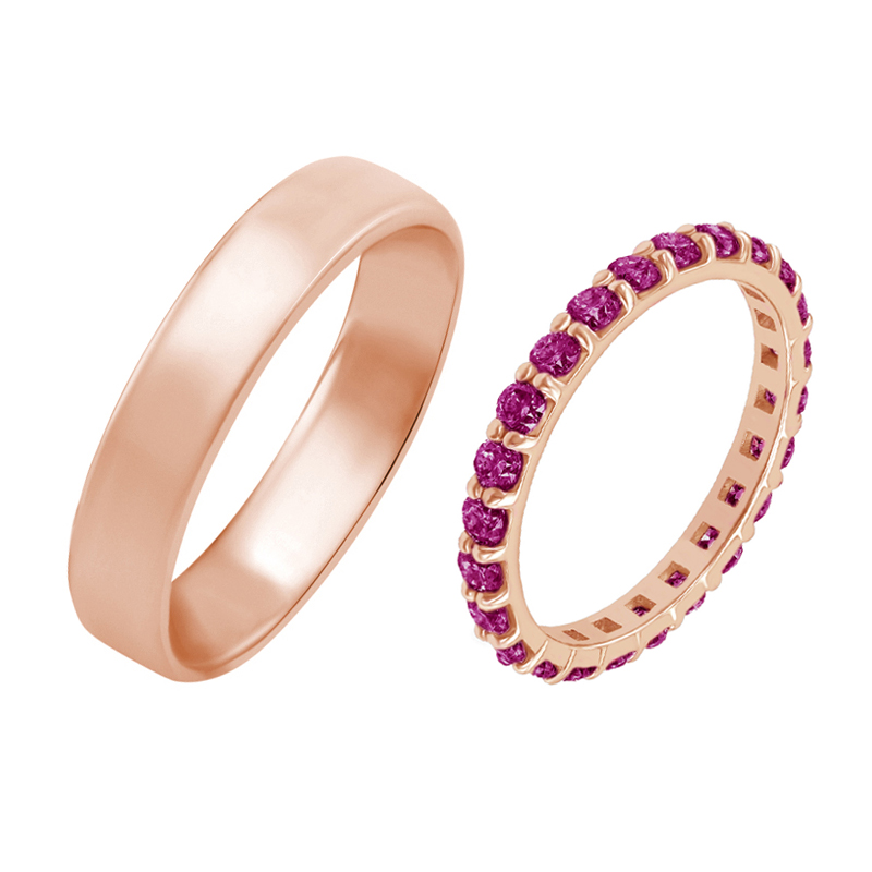 Eppi Dámský eternity prsten s rubíny a pánský komfortní prsten Reggie RW40196