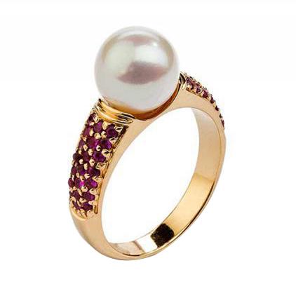 Eppi Zlatý prsten s perlou a rubíny Basanti R31069