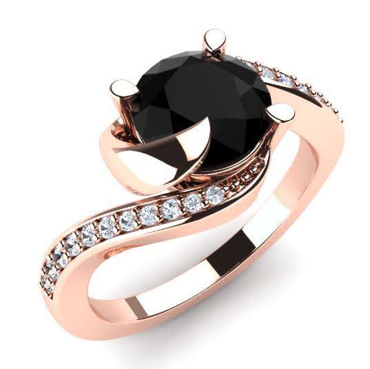 Zasnubni Prsten Z Ruzoveho Zlata S Cernym Diamantem Eppi Cz
