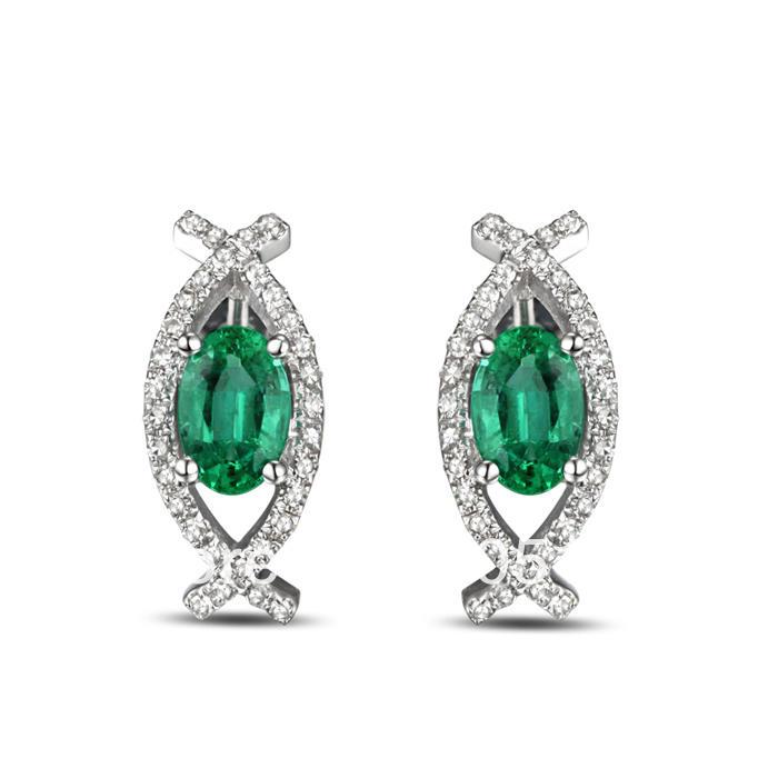 Smaragdové náušnice s diamanty Sarani  Zlaté náušnice ze smaragdy ... 59c79bb51ed