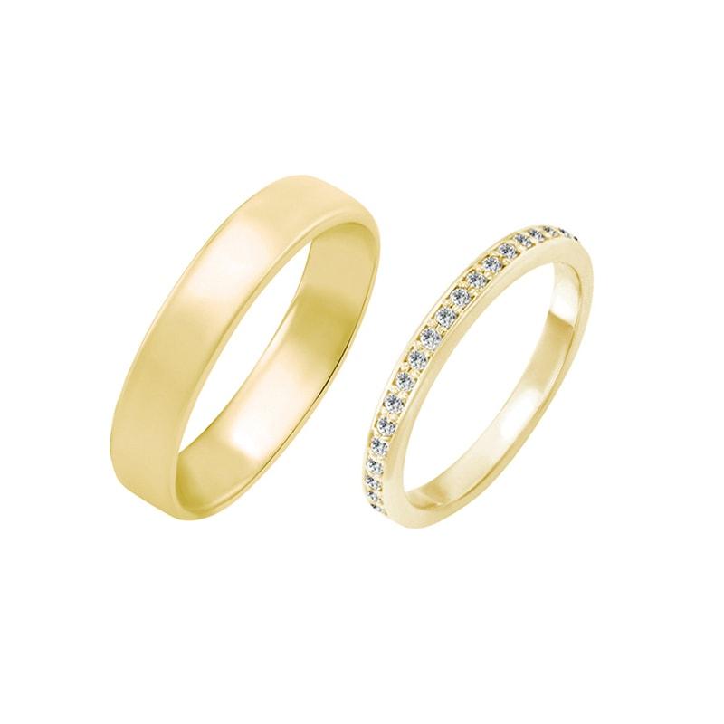 Zlate Snubni Prsteny S Eternity Obrouckou A Komfortnim Prstenem