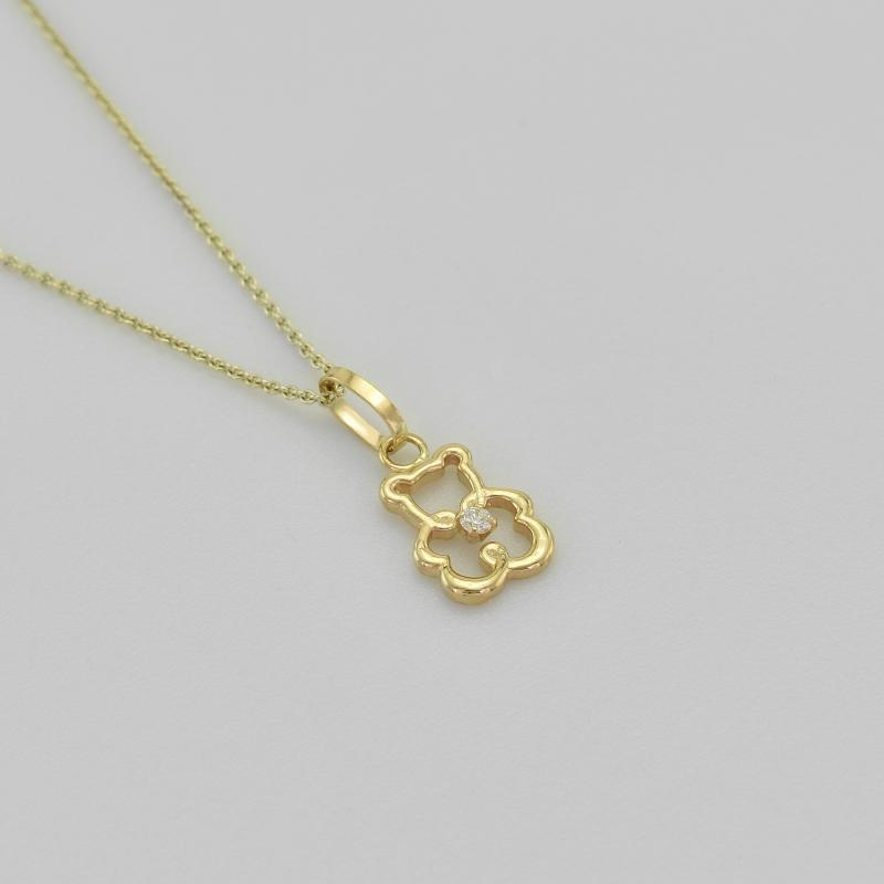 d7dccfbd7 Zlatý dětský náhrdelník s medvídkem a diamantem Magdalena | Eppi.cz