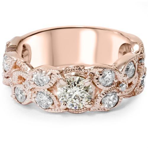1935dde48 Luxusní zlatý zásnubní prsten s lístky vykládanými diamanty Jenny Luxusní zásnubní  prsteny