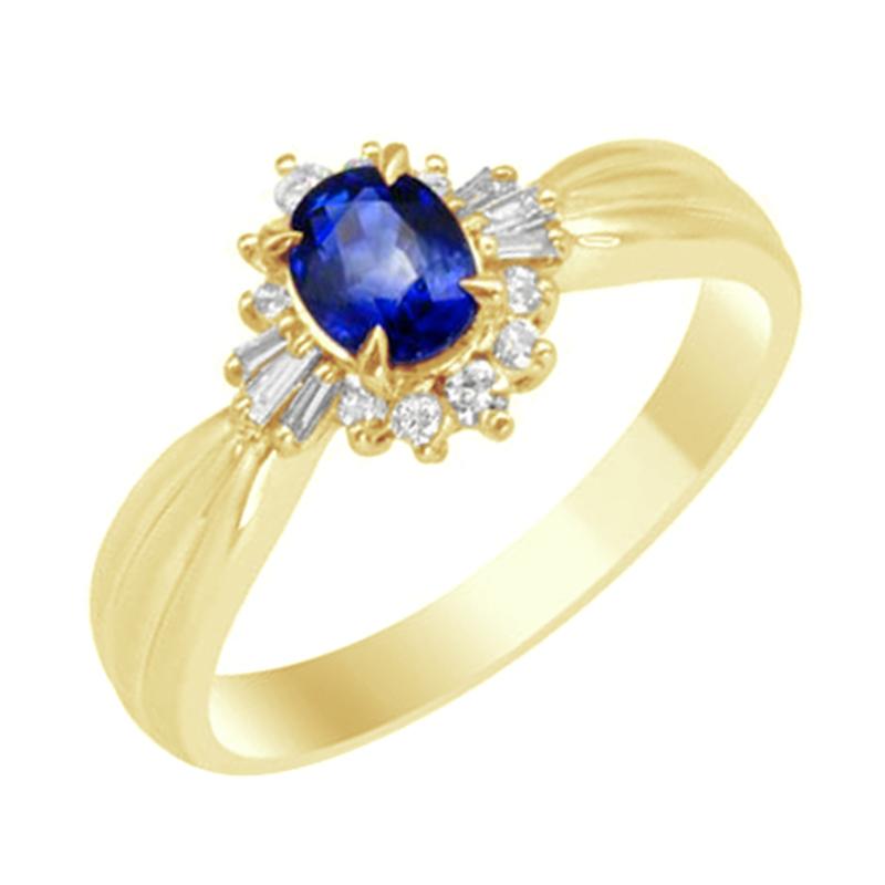 Eppi Modrý safír ve zlatém prstenu s diamanty Eriel R31537